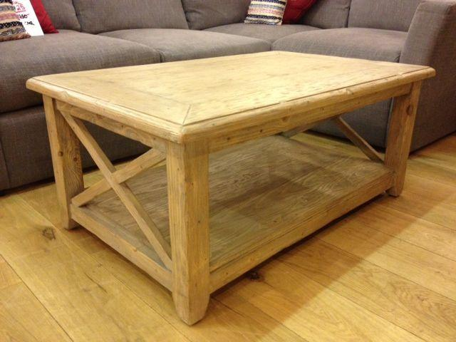 Shabby Criss Cross Oblong Coffee Table Clearance