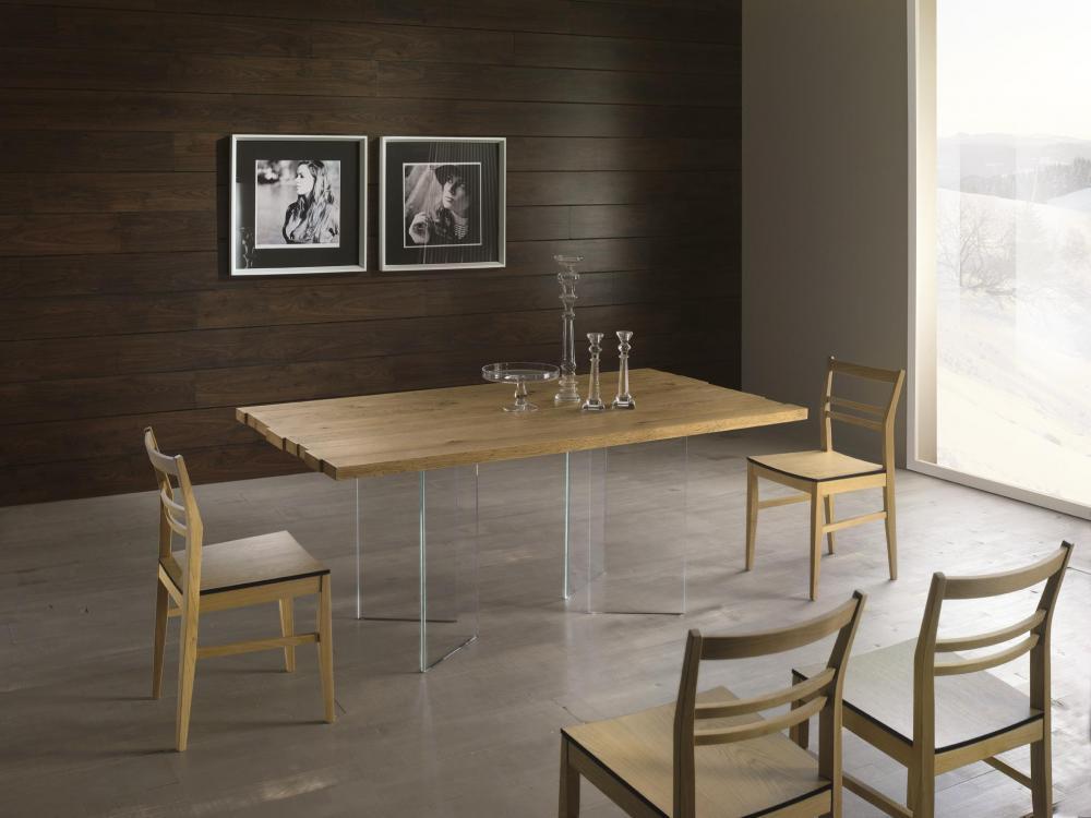 Conarte Vertigine Oak Fixed Table With Glass Legs 4 Legs