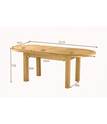 Dakota Large D-End Oak Extending Table