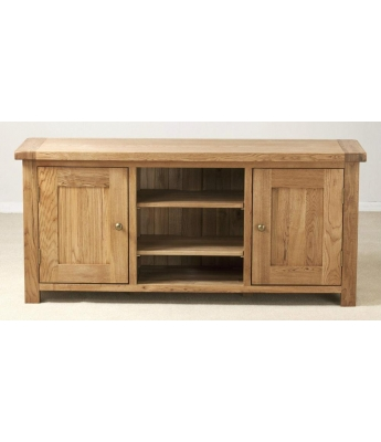 Dakota Large Oak TV Unit with Wooden Doors
