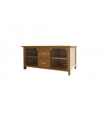 Utah Large Oak TV Unit with Glass Doors