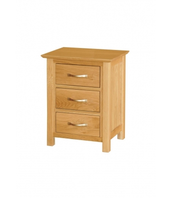 Utah 3 Drawer High Oak Bedside