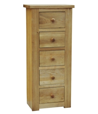 Sierra 5 Drawer Oak Wellington Chest