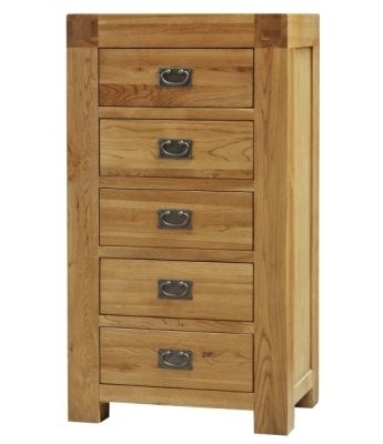 Fortune Woods Boston 5 Drawer Oak Wellington Chest