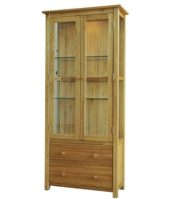 Fortune Woods Windsor Oak Display Cabinet (Glass Doors)