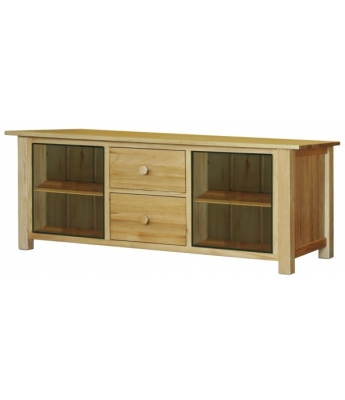 Fortune Woods Windsor Oak Long TV Cabinet with Glass Doors