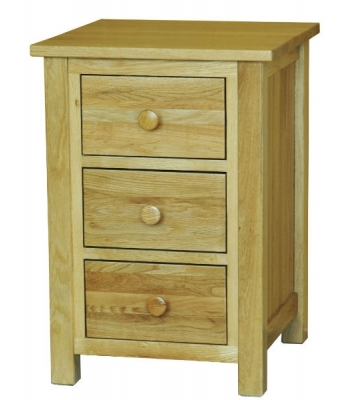 Fortune Woods Windsor Oak 3 Drawer Bedside