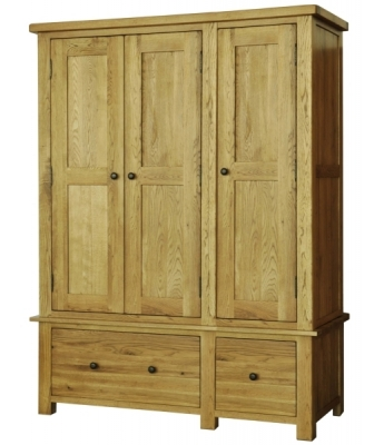 Salinas Oak Triple Wardrobe with Drawers