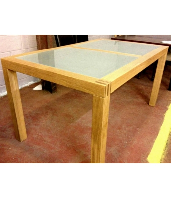 Loevestein 160cm Glass & Oak Dining Table - Clearance