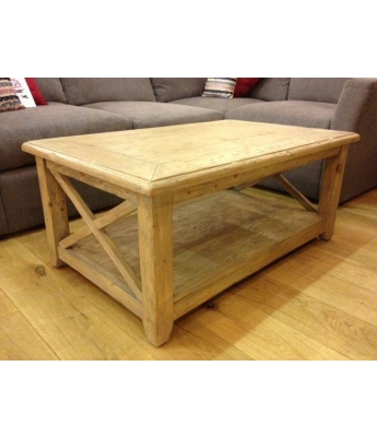 Shabby Criss-Cross Oblong Coffee Table - Clearance
