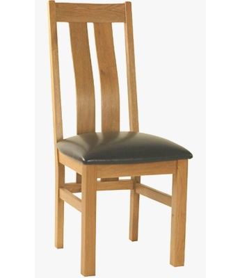 Classic Curved Back Chair with Brown PU Seat