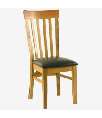 Classic Slat Back Chair with Brown PU Seat