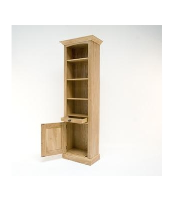 Country Oak Tall Single Drawer Bookcase - Clearance