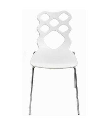 Nicole Chair (Chrome Finish with White Moulded Seat)