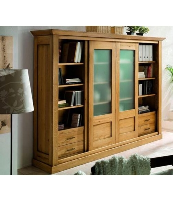 Conarte Camargue Bookcase (2 Glass Sliding Doors, 6 Drawers)
