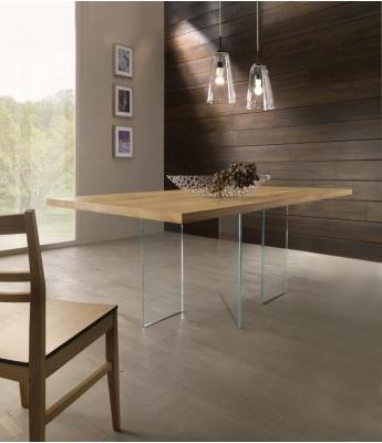 Conarte Vertigine Oak Fixed Table (3 Glass Legs)
