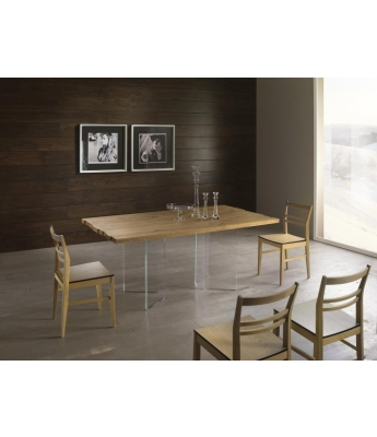 Conarte Vertigine Oak Fixed Table (4 Diagonal Glass Legs)