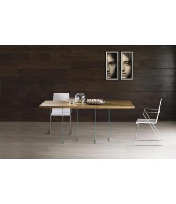 Conarte Vertigine Oak Fixed Table (4 Horizontal Glass Legs)