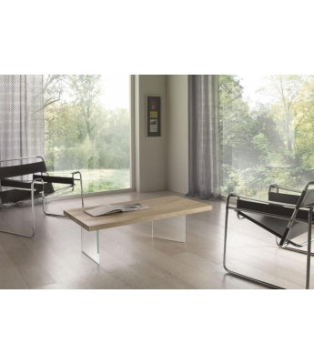 Conarte Vertigine Oak Coffee Table with Glass Legs