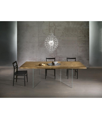 Conarte Vertigine Oak Fixed Table (2 Diagonal Glass Legs)