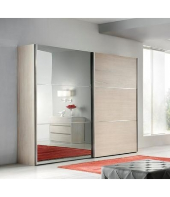 Conarte Moderno Wardrobe (Wood/Bronze Mirror Doors)