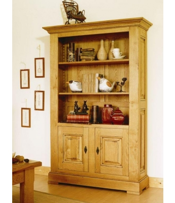 Carennac 2 Door Oak Bookcase (With Cupboard)