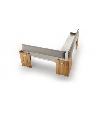 Conarte Crisalide Oak Corner Bench (Fabric Back)