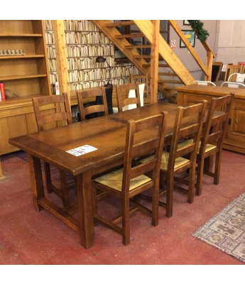Antix Oak Farmhouse Table + 6 Chairs