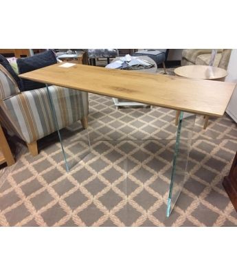 Vertigine Oak Console Table with Glass Legs